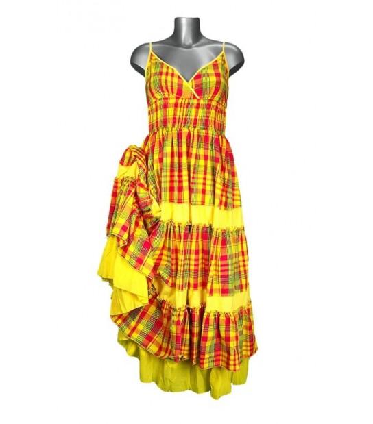 robe cache coeur en madras jaune et rouge m 39 elle boutique. Black Bedroom Furniture Sets. Home Design Ideas