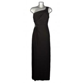 Robe longue noir bretelle asymétrique