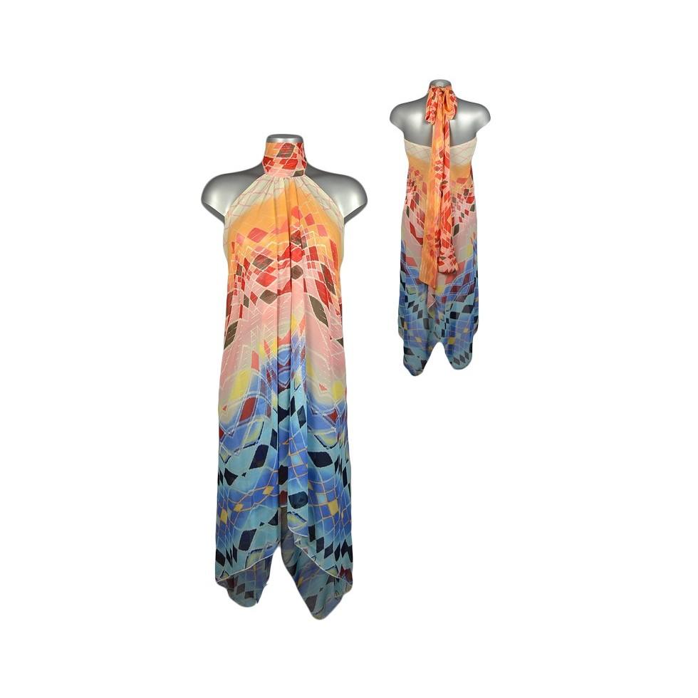 robe voile asym trique motif losanges orange et bleu m. Black Bedroom Furniture Sets. Home Design Ideas