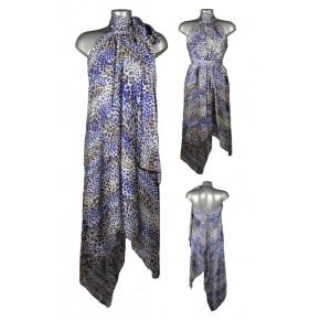 Robe voile asymétrique motif animal bleu