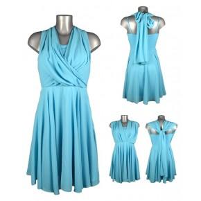Robe en voile drapé foulard bleu