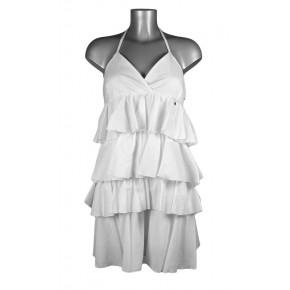 Robe dos-nu à volants en coton blanc
