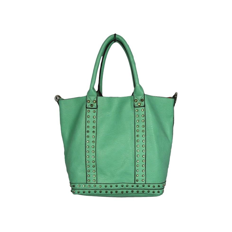 sac main cabas vert clous argent s m 39 elle boutique. Black Bedroom Furniture Sets. Home Design Ideas