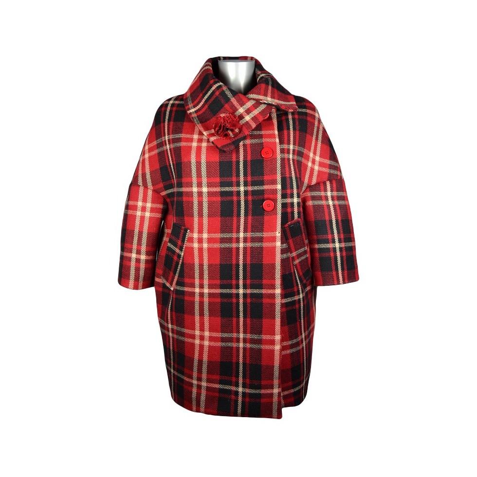 manteau oversize col boule laine motif cossais m 39 elle boutique. Black Bedroom Furniture Sets. Home Design Ideas