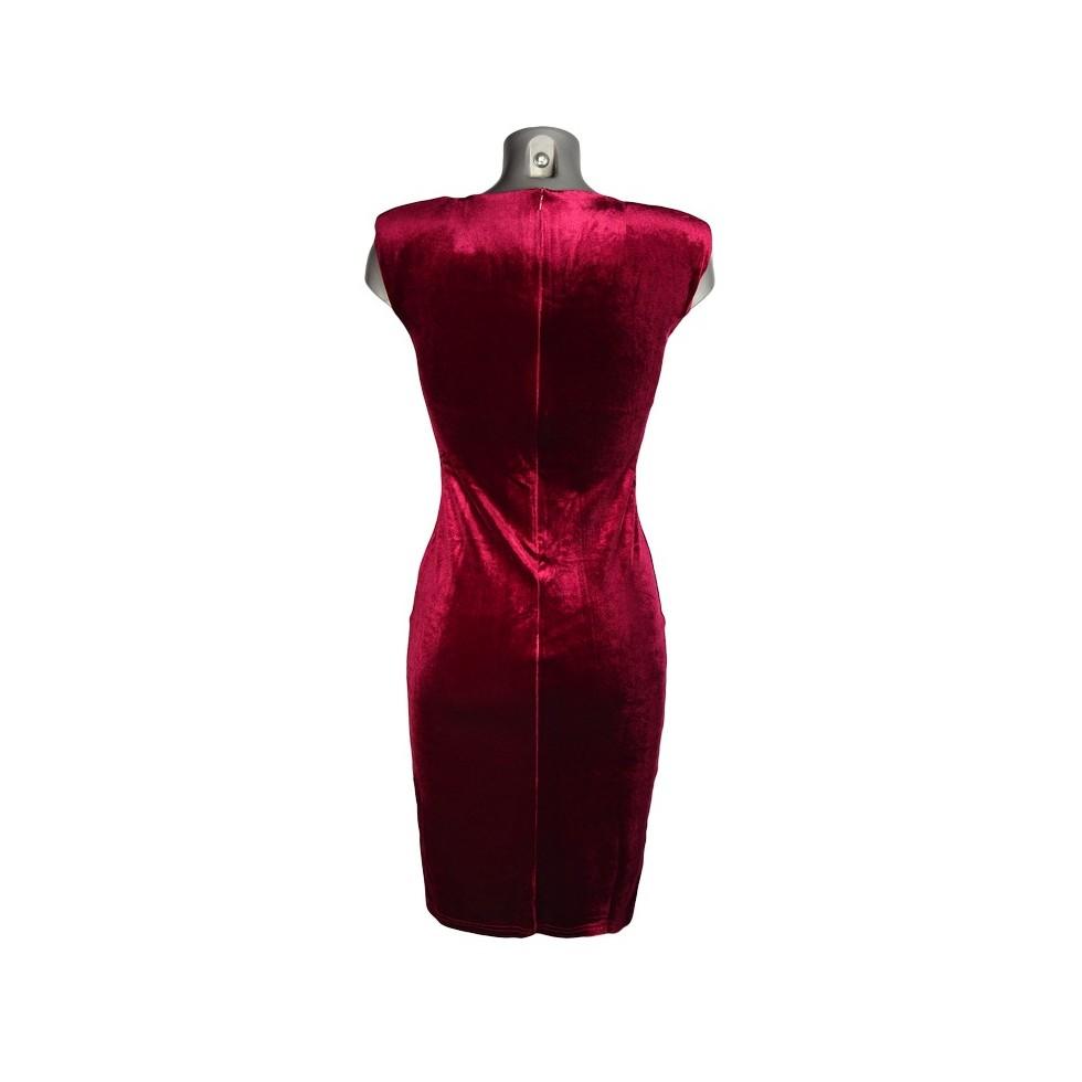 robe moulante col bijou velours rouge m 39 elle boutique. Black Bedroom Furniture Sets. Home Design Ideas