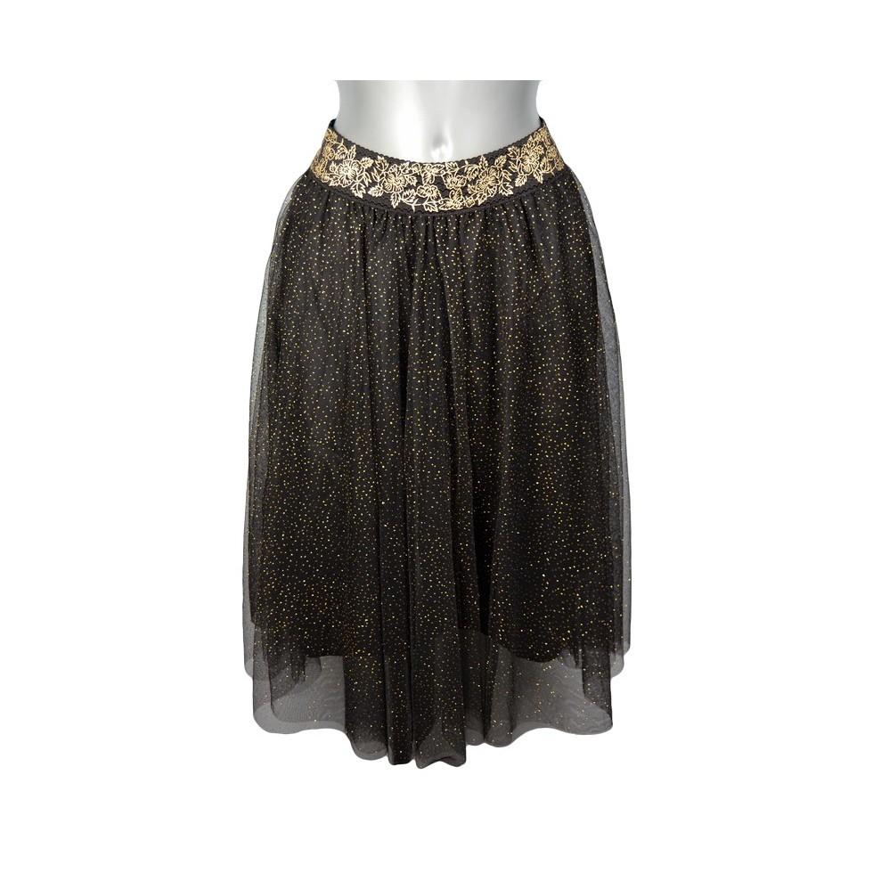 jupe en tulle noir paillet ceinture fleurs dor es m 39 elle boutique. Black Bedroom Furniture Sets. Home Design Ideas