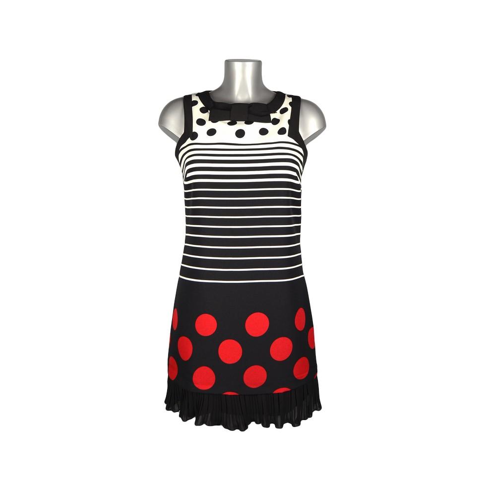 Robe trap ze ray noir et blanc pois rouge col noeud m - Tapisserie rayee noir et blanc ...