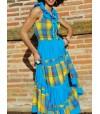 Robe longue madras bleu et jaune broderie bleue
