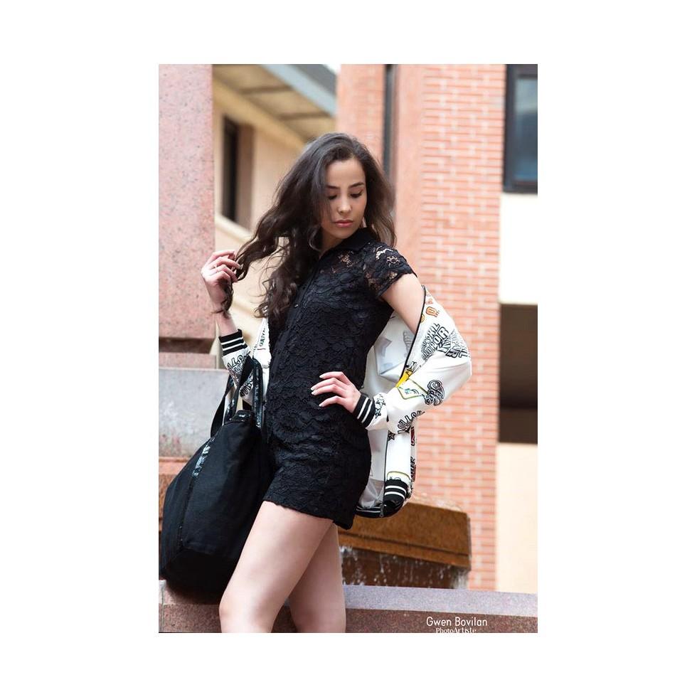 Combinaison short style chemise dentelle noir - M elle Boutique 12fc3af21b6