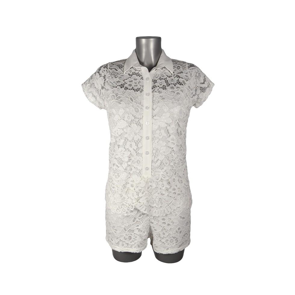 Combinaison short style chemise dentelle blanche - M elle Boutique a0628d4b8f9