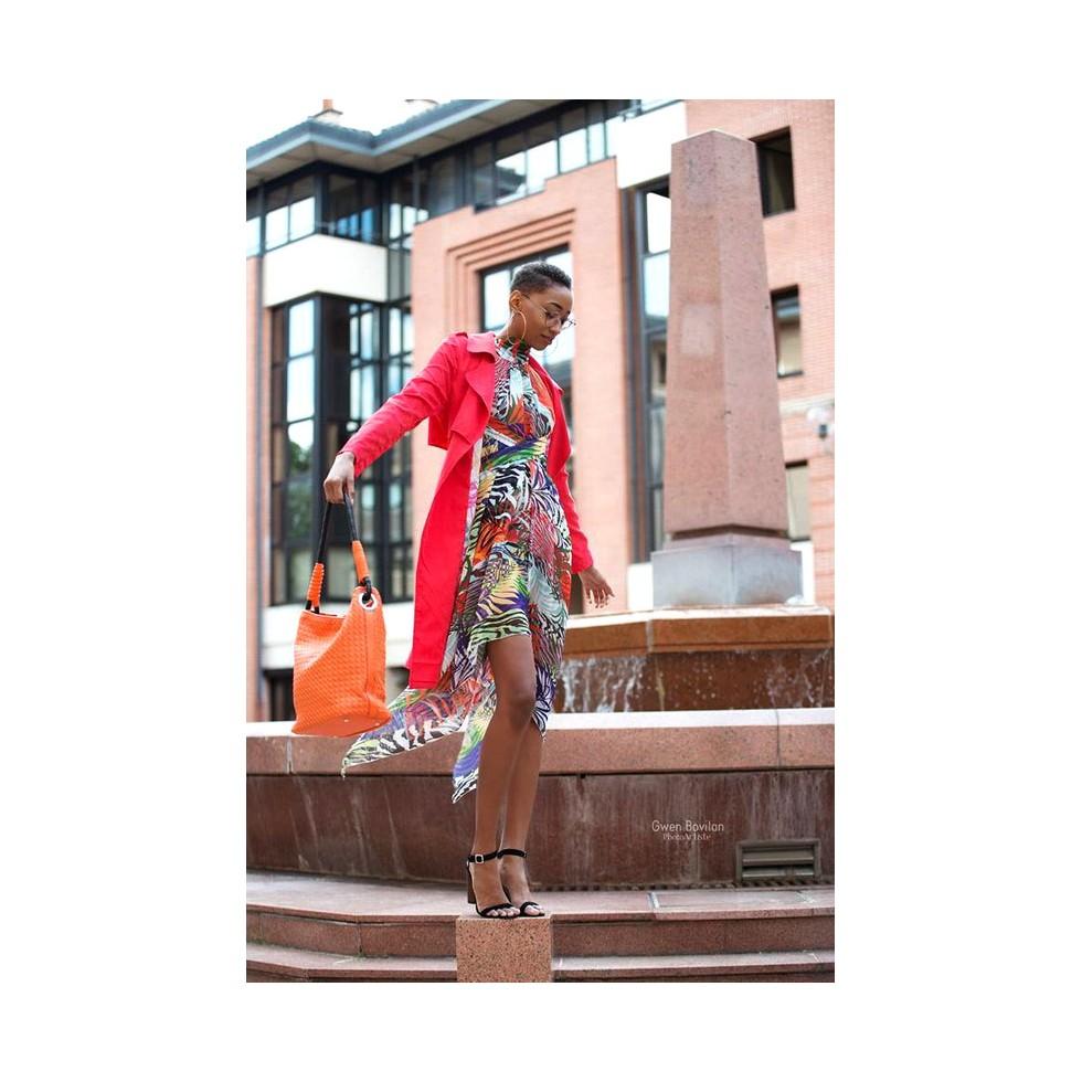 robe voile asym trique motif tropical violet orange et. Black Bedroom Furniture Sets. Home Design Ideas