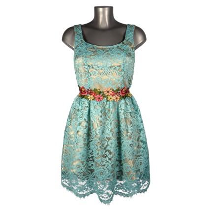 Robe Baby Doll dentelle bleue fleurs brodées