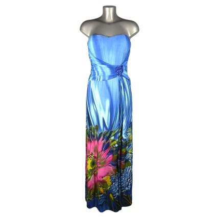 Robe bustier longue dégradé bleu bas fleur rose