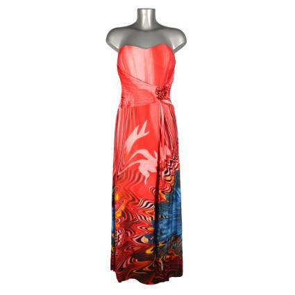 Robe bustier longue dégradé rouge bas fleur bleue