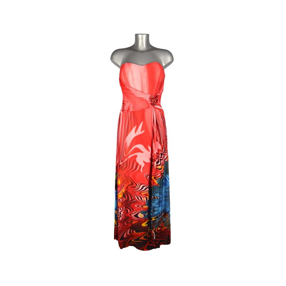 Robe rouge fleurs bleues