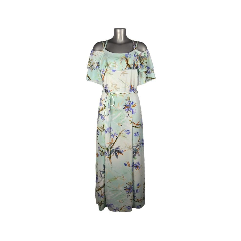 robe longue manches volants voile vert d 39 eau fleurs violettes m 39 elle boutique. Black Bedroom Furniture Sets. Home Design Ideas