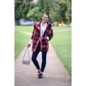 Manteau oversize col boule laine motif écossais