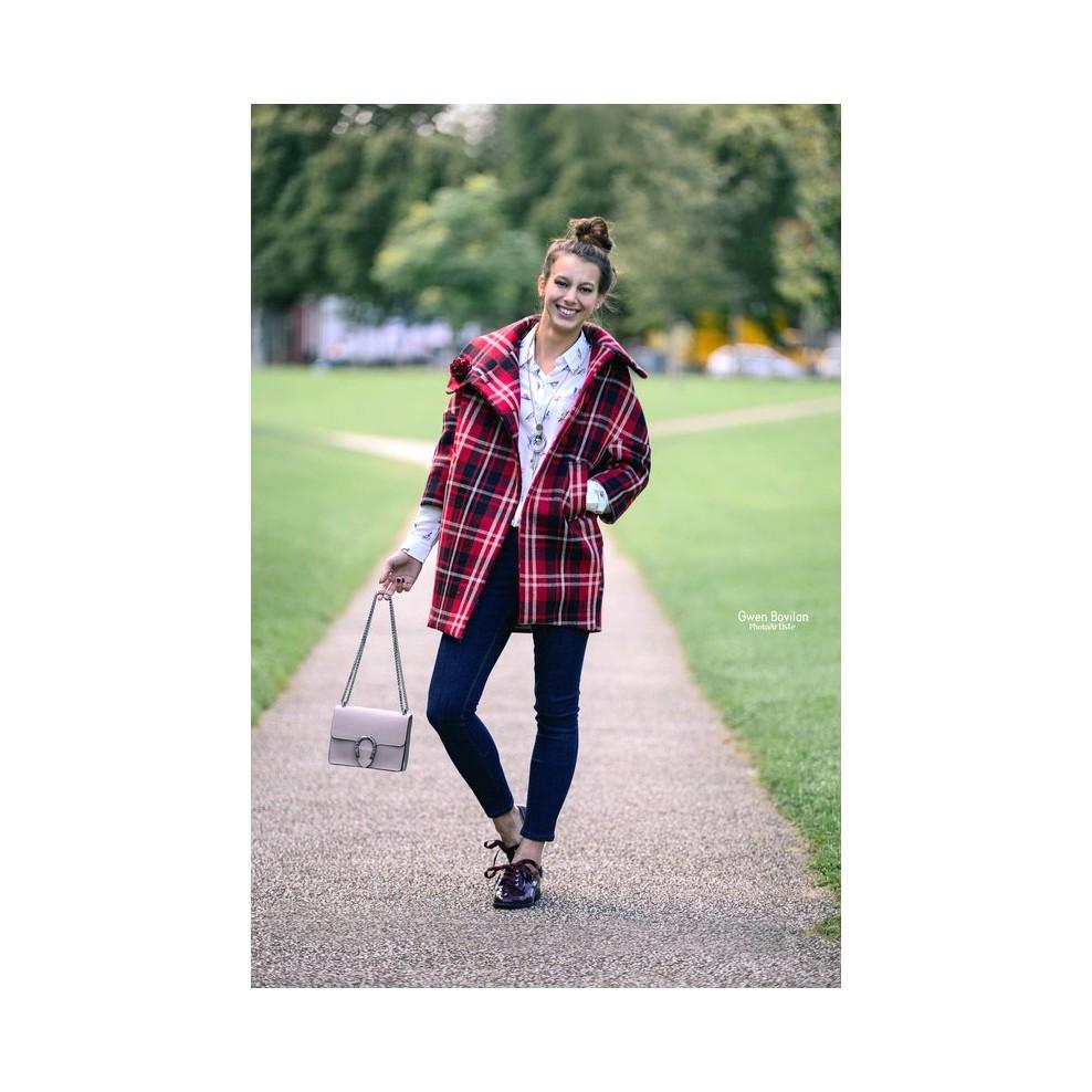 Manteau oversize col boule laine motif écossais - M elle Boutique 0b333cab10e1