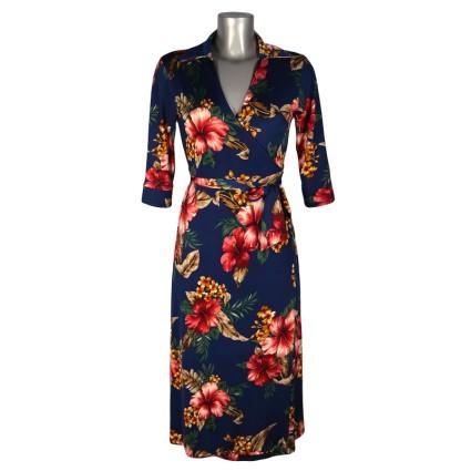 Robe cache-coeur porte-feuille bleu fleurs hibiscus rouges