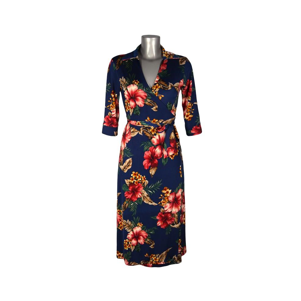 Robe cache coeur porte feuille bleu fleurs hibiscus rouges m 39 elle boutique - Monceau fleurs porte maillot ...