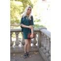 Robe tunique épaules dénudées boutons officier vert irisé ShowGirls Melle Boutique