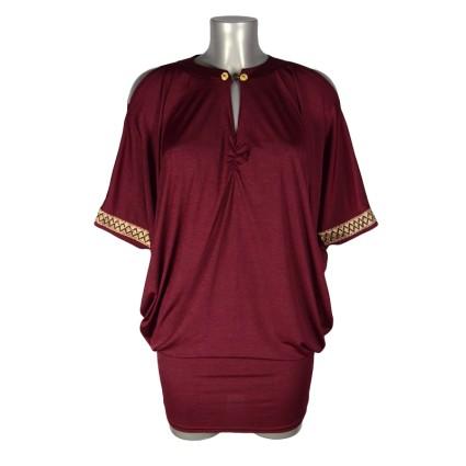 Robe tunique épaules dénudées boutons officier rouge irisé ShowGirls Melle Boutique