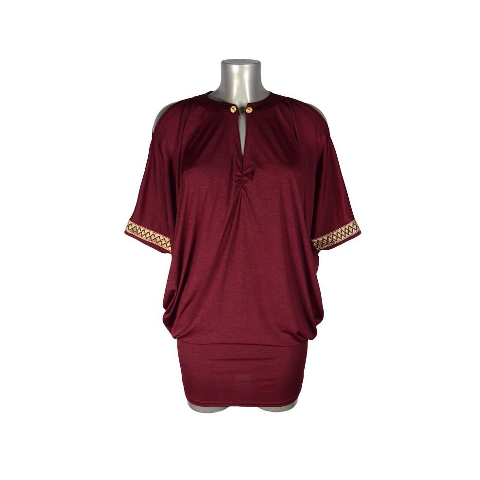 Robe tunique épaules dénudées boutons officier rouge irisé ShowGirls Melle  Boutique a0cd94a4b24