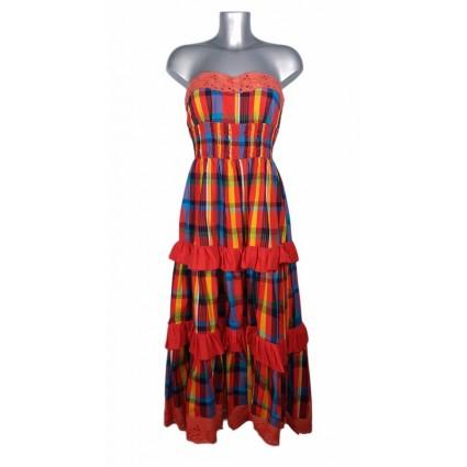 Robe créole bustier broderie anglaise madras rouge et bleu Melle Boutique