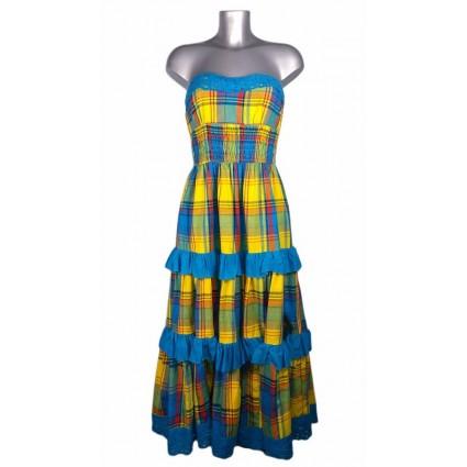 Robe créole bustier broderie anglaise madras bleu et jaune Melle Boutique