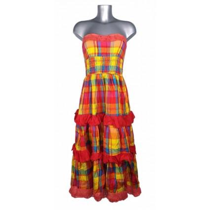 Robe créole bustier broderie anglaise madras multicolore Melle Boutique