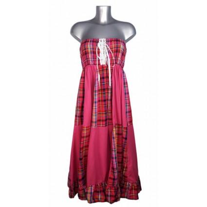 Robe créole bustier corsage bas damier madras rose Melle Boutique