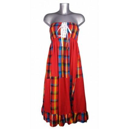 Robe créole bustier corsage bas damier madras rouge et bleu Melle Boutique
