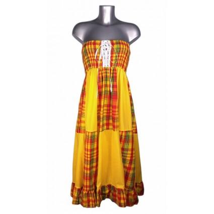 Robe créole bustier corsage bas damier madras jaune et rouge Melle Boutique