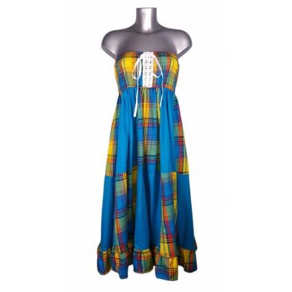 Robe créole bustier corsage bas damier madras bleu et jaune Melle Boutique