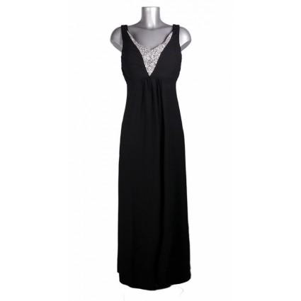 Robe longue décolleté strass voile noir Melle Boutique