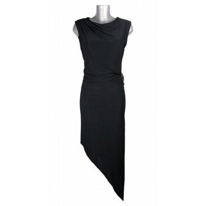 Robe droite bas asymétrique noir broche sur la hanche ShowGirls Melle Boutique