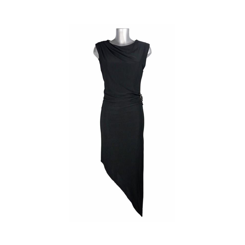 Robe droite bas asymétrique noir broche sur la hanche ShowGirls Melle  Boutique 6b1f3580c98