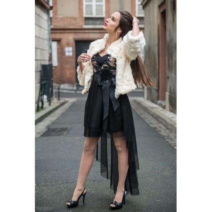 Robe derrière long buste paillettes dorées bas tulle noir Rinascimento Melle Boutique