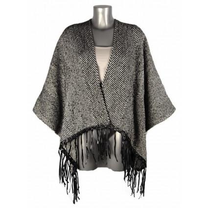Cape à franges laine zigzags noirs et blancs Goa Melle Boutique
