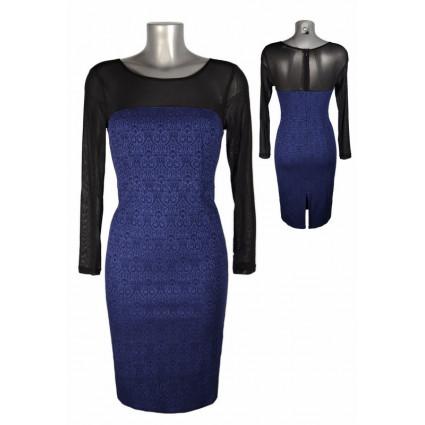 Robe structure bustier manches voile motif baroque bleu Melle Boutique