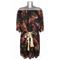 Robe épaules dénudées ceinture cordon pastel voile noir fleurs roses Fifilles de Paris Melle Boutique