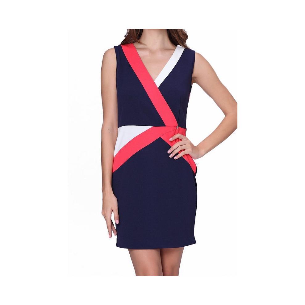 99226a6078564 Robe moulante bleu foncé bandes corail et blanche Jus d Orange Melle  Boutique