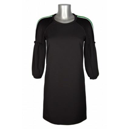 Robe droite noire sport chic épaules bande verte Melle Boutique