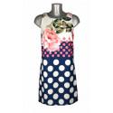 Robe trapèze haut blanc fleurs roses bas bleu pois blancs Rinascimento Melle Boutique