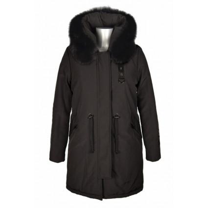 Manteau parka noir capuche fourrure Melle Boutique