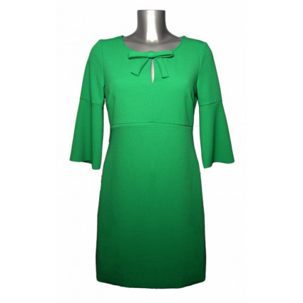 Robe trapèze col noeud manches évasées vert vif Rinascimento