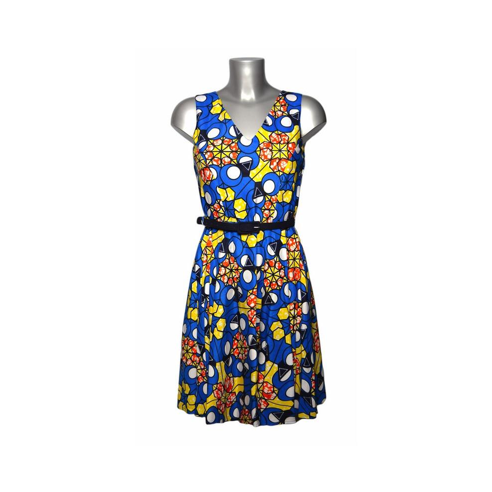 robe en tissu africain motif graphique bleu orange et jaune. Black Bedroom Furniture Sets. Home Design Ideas