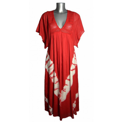 Robe longue esprit boubou rouge tie and dye Goa