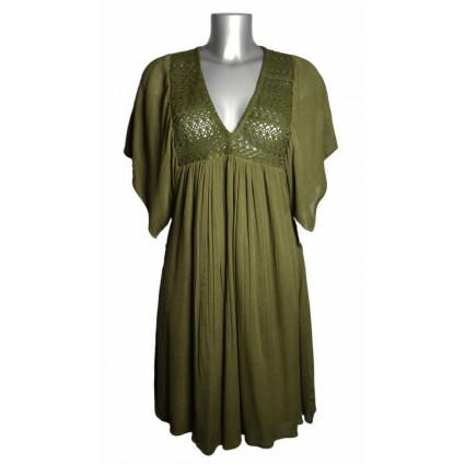 Robe courte coton vert kaki broderie fait main Goa