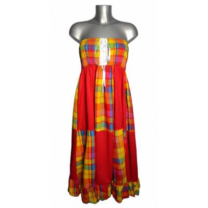 Robe créole bustier corsage bas damier madras multicolore